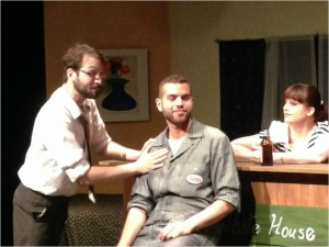"""The cast of """"Jim & Dave ('s Blood Meets Jupiter)"""" at the Raven Theatre, by Project 891 Theatre."""