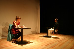 """Dead Man's Cell Phone"": Erin Kelly Outson and Gary F Barth. Photo by Victor E. Bvzeta"