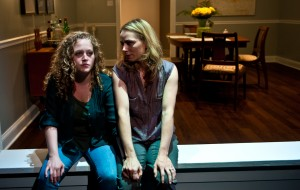 Caroline Neff and Brenda Barrie, featured in Route 66 Theatre Company's production of The Downpour.  Photo by Brandon Dahlquist.