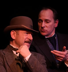 """CityLit Theater presents """"Holmes and Watson"""", with Adam Bitterman as Watson (left) and James Sparling as Holmes (right). Photo by CityLit."""
