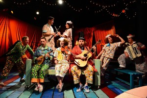 (back, left to right) Doug Pawlik and Dana Omar with (front, left to right) Robert McLean, Shawn Pfautsch, Lauren Vogel, Matt Kahler, Christine Stulik and Kate Carson-Groner in The Hypocrites' world premiere adaptation of Gilbert and Sullivan's H.M.S. PINAFORE, adapted and directed by Sean Graney.  Photo by Evan Hanover.