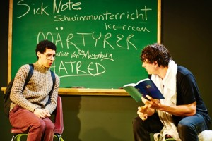 Martyr2: (left to right) Travis Coe and Brando Crawford in Steep Theatre's production of Martyr by Marius von Mayenburg, directed by Joanie Schultz. Photo by Lee Miller.