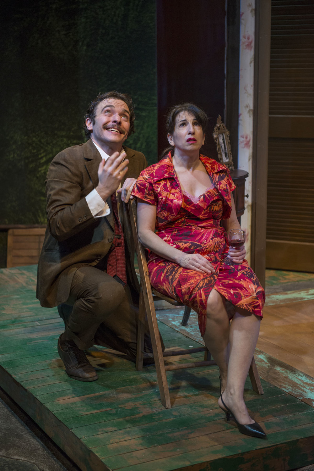 Nic Grelli and Eileen Niccolai in Shattered Globe Theatre's production of THE ROSE TATTOO by Tennessee Williams, directed by Greg Vinkler. Photo by Michael Brosilow